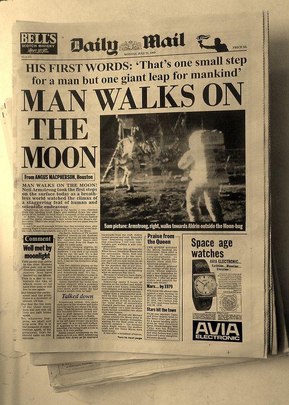 MAN WALKS ON THE MOON Headlines Newspaper Design Old Newspaper Newspaper