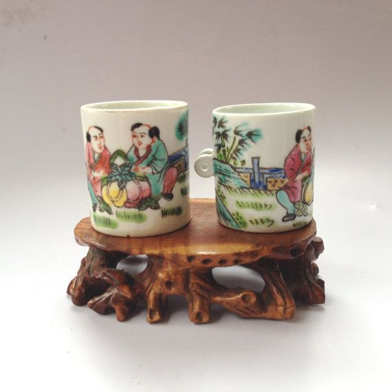 Vintage Chinese  Hand Painted  Two Men and by BluePearEmporium