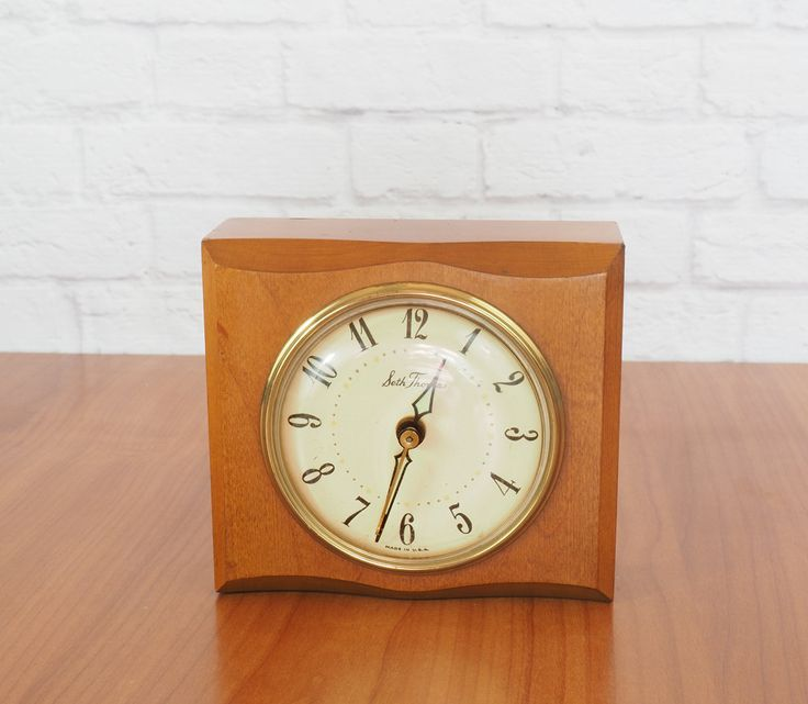 Seth Thomas Alarm Clock, Solid Wood, Electric, Model BEVERLY SS12-J, Made in U.S.A., Mid Century by FireflyVintageHome on Etsy