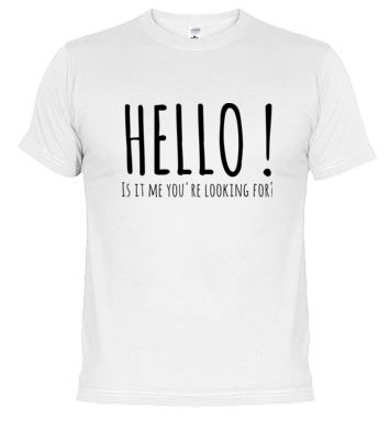 "#Camiseta #HELLO - #LionelRichie - La canción ""Hello"" de 1984 de Lionel Richie es ideal para aquell@s que buscan el amor o quieren decirle a alguien ""Te quiero"". ""Hello! Is it me you're looking for? / I can see it in your eyes / I can see it in your smile / You're all I've ever wanted / And my arms are open wide / Because you know just what to say / And you know just what to do / And I want to tell you so much / I love you"" http://www.latostadora.com/singalong/hello_-_lionel_richie/706543"