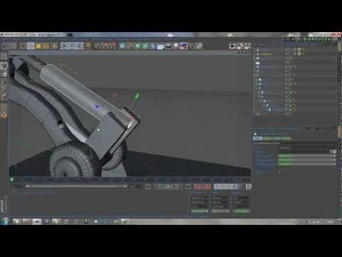 Création et pose d'un vérin sur bras robotique articulé sur cinéma 4D (FR) - YouTube