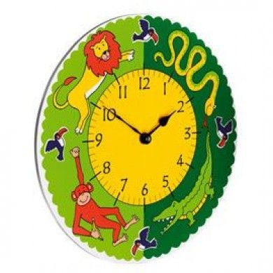 This brightly coloured clock, with large, clear face is a perfect addition to a jungle room.