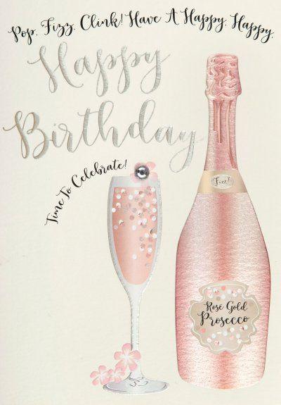 Prosecco Birthday Card Birthday Happy Birthday