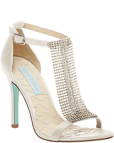 Ivory Bridal Shoes With Blue Soles