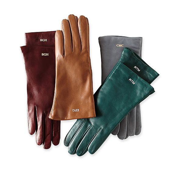 Monogramed Leather Gloves. Any lady would love these! Women's Italian Leather Classic Gloves, Jewel-Toned | Mark and Graham