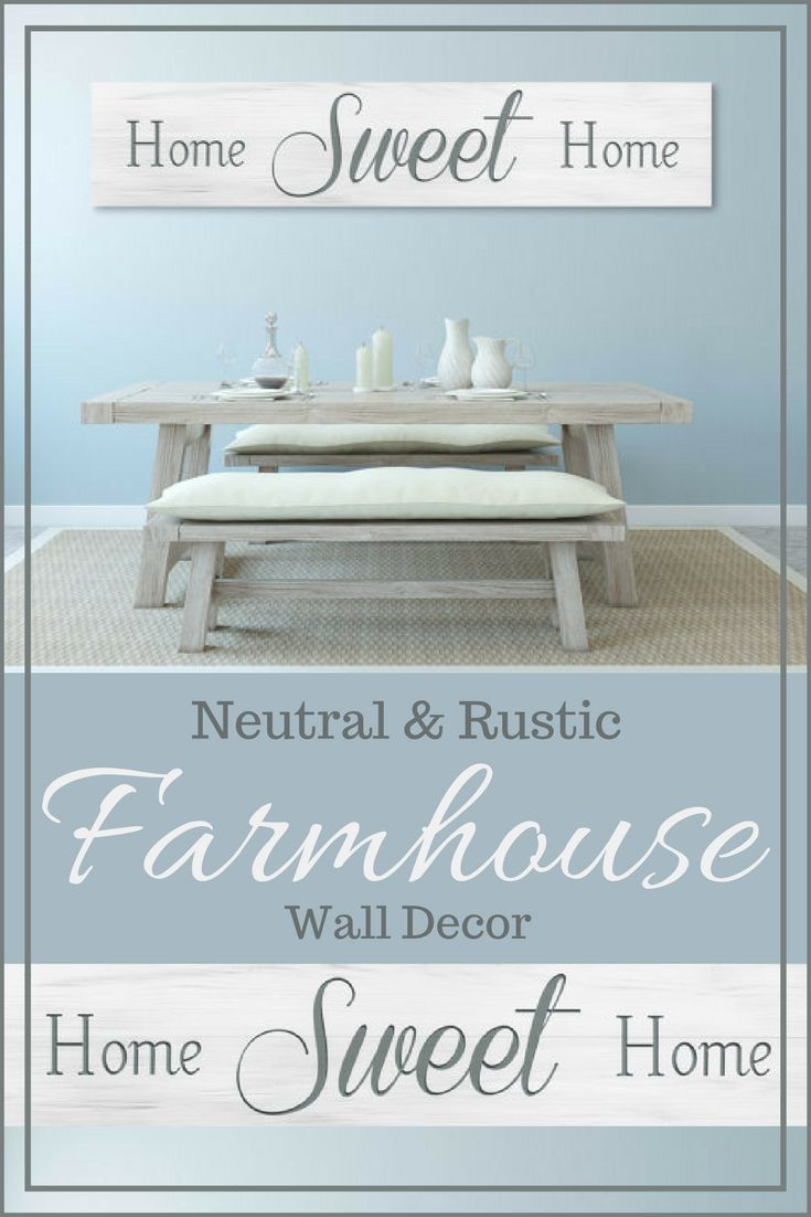 Love this neutral farmhouse dining room setup. The wall sign is rustic and large and would go great in my living room. Love this! #farmhouse #rustic #decor #wall #afflink