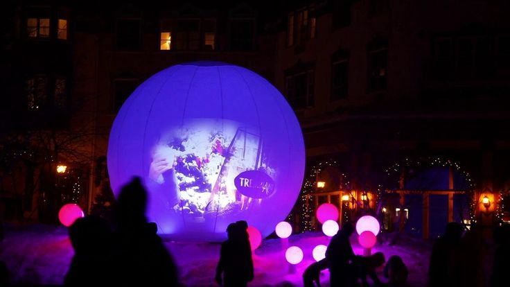"""Lucion - """"Bül"""" in Tremblant, light and video installation  http://www.lucionmedia.ca"""