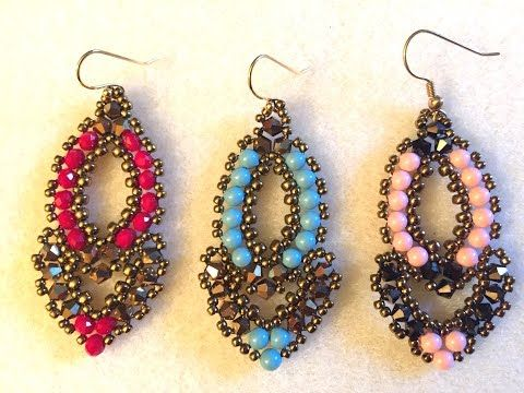"▶ Video Tutorial Beaded Earrings ""Esmeralda"" - YouTube"