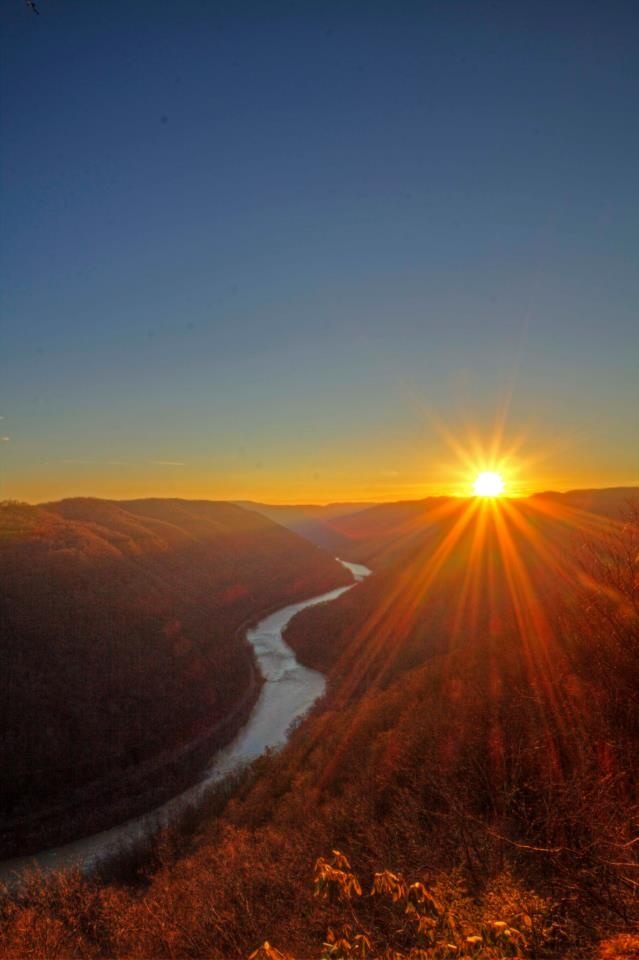 Sunrise over the New River, West Virginia