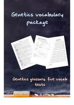 This vocabulary package includes a full genetics glossary and five vocabulary tests.  Four tests are fill-in-the-gaps and the fifth a full blank test for students to write their own definitions.  A good class starter once a week.Also available Genetics basics matching cardsGenetics vocabulary foldable and worksheet