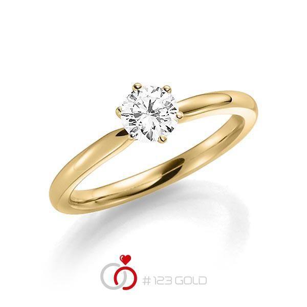 Verlobungsring Diamantring 6 Krappen, Profilschiene- Legierung: Gelbgold 585/- - Steinbesatz: 1 Brillant 0,5 ct. tw, si