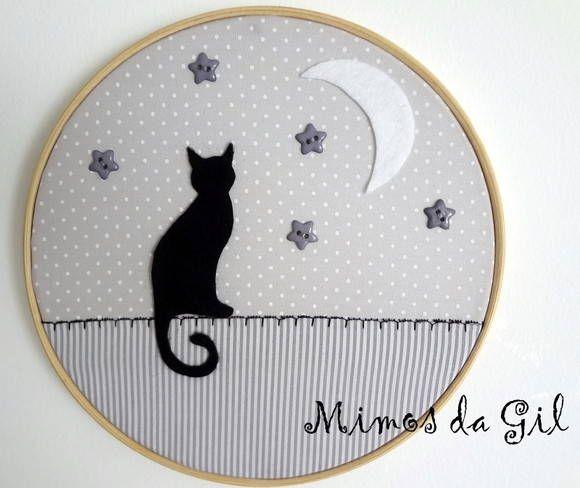 Quadro Bastidor Gato-Chat Noir | Mimos da Gil | 260D21 - Elo7