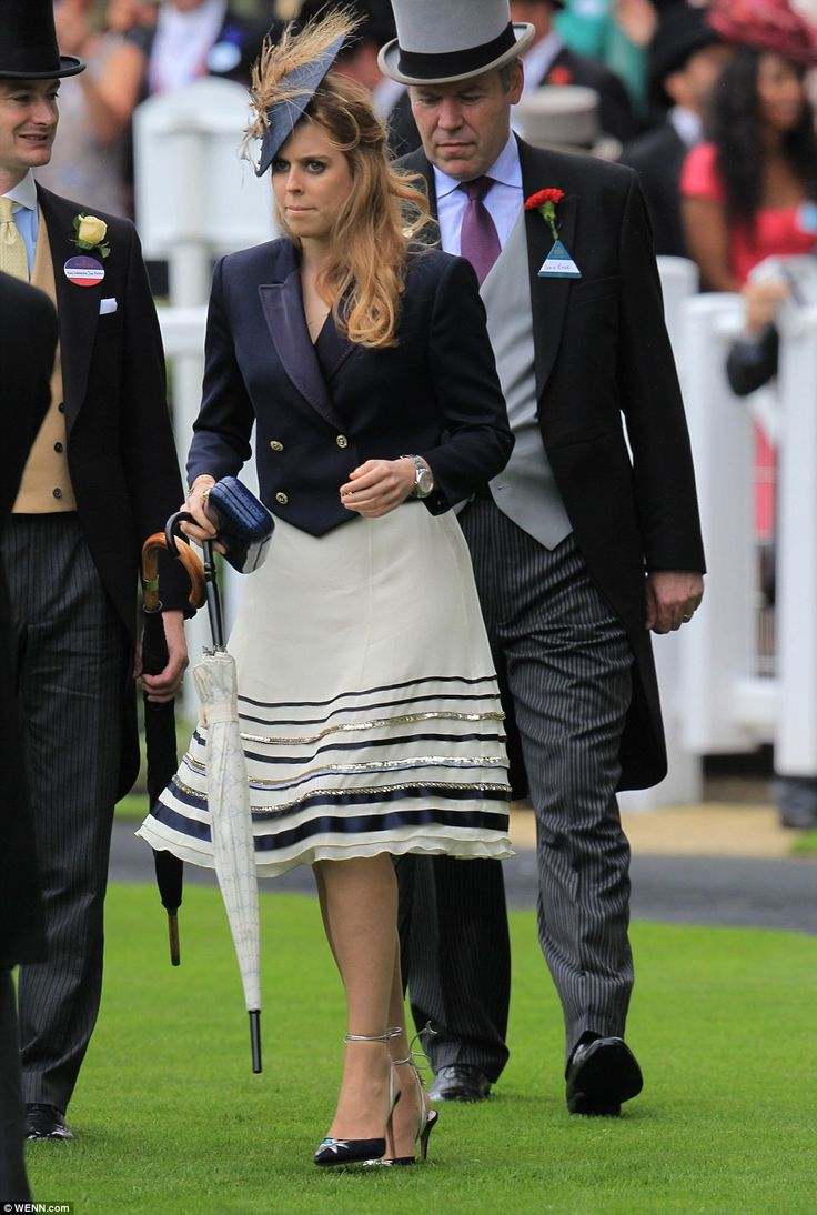 Princess Beatrice went for old-school glamour in an A-line skirt with sequin detail and a ...