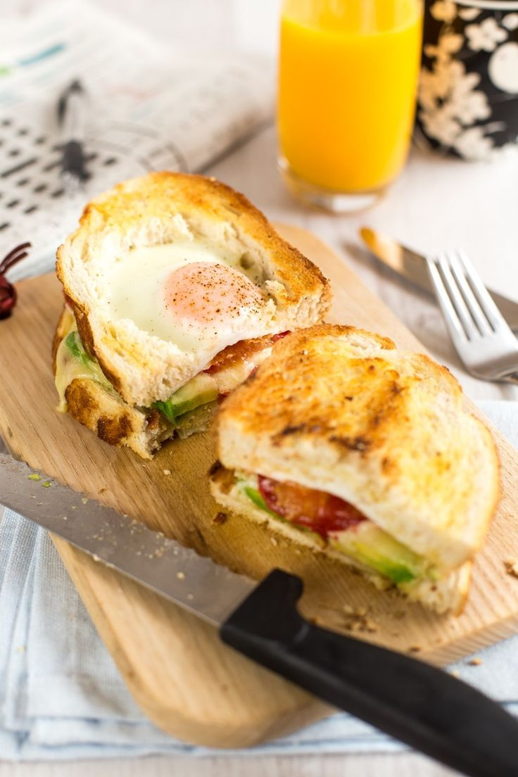 """Drooling over this perfect """"Egg in a Hole"""" Breakfast Sandwich recipe."""