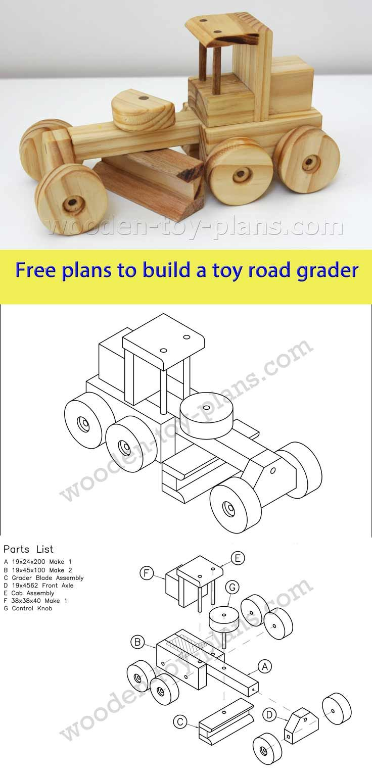 download free printable plans to build this toy road grader
