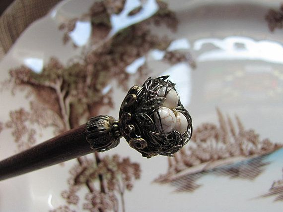 Victorian Secret Garden Wire Wrapped Bird by GardenOfWeedinGirl (Accessories, Hair Accessories, Barrettes & Clips, Asian chopstick, hair stick, miniature bird nest, secret garden, speckled brown ivory, birds eggs, wrapped wire, nature lover, whimsical fantasy, brass filigree, shawl pin, Victorian woodland, woven bird nest)