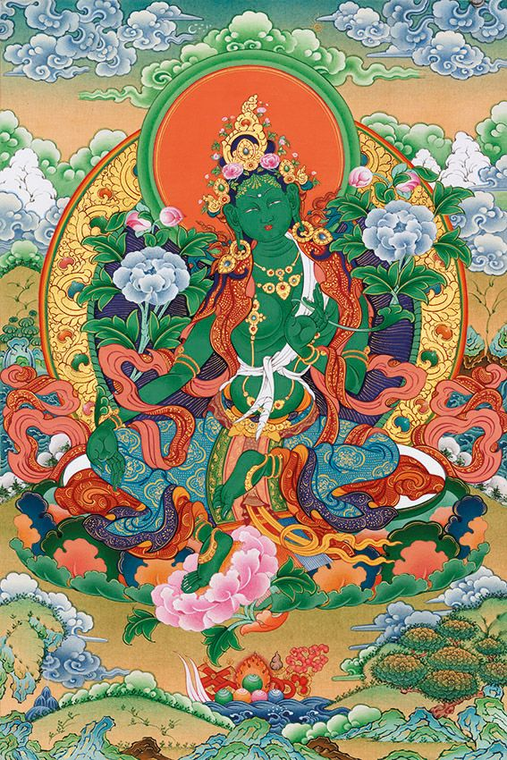 Green Tara is the most dynamic manifestation among all Taras. Her green body color signifies her association with the family of the Buddha Amoghasiddhi, the Transcendent Buddha of the north. He transmutes the poison of envy and turns it to the positive energy of all-accomplishing wisdom. Green Tara sits on а lotus, her right leg extending beyond and leaning on the lotus.