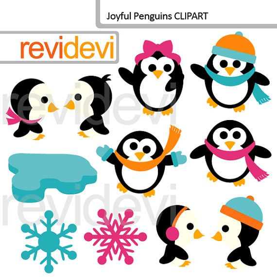 Clipart Joyful Penguins 07568 digital images cute by revidevi