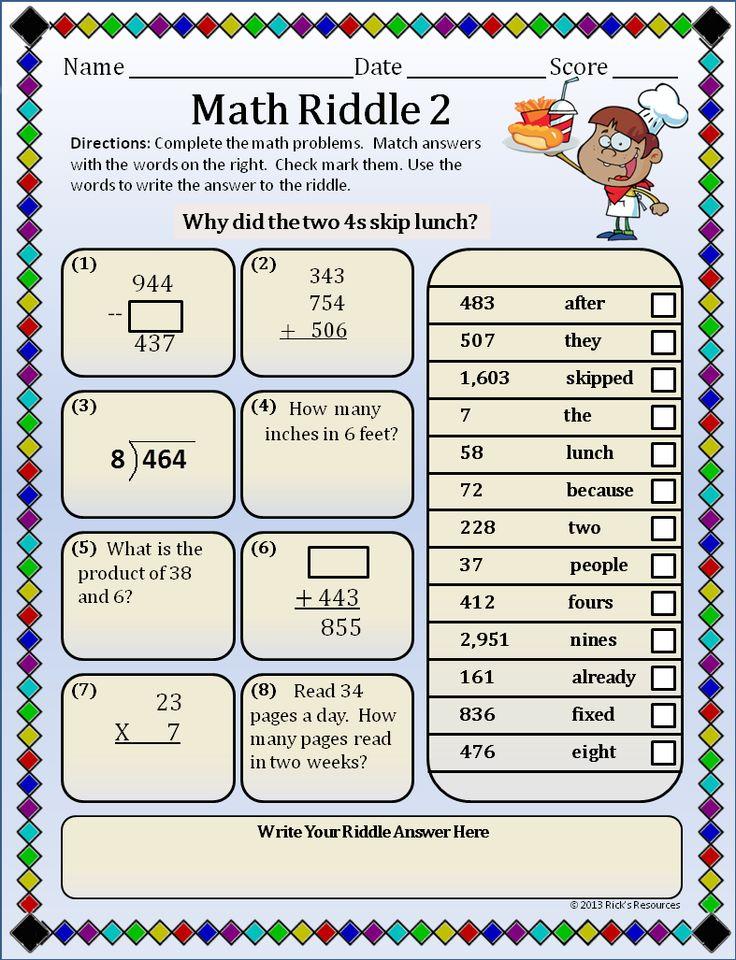 math worksheet : 238 best misc  math and nerd net images on pinterest  math  : Math Riddles For Kids