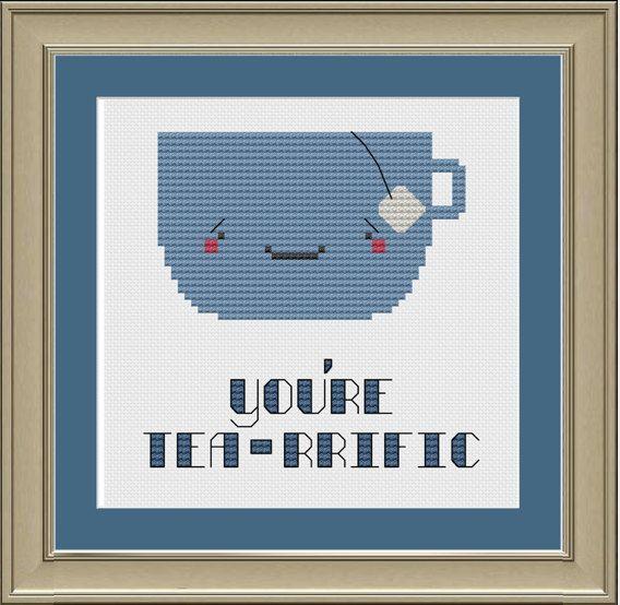 You're tea-rrific: cute cup of tea cross-stitch pattern