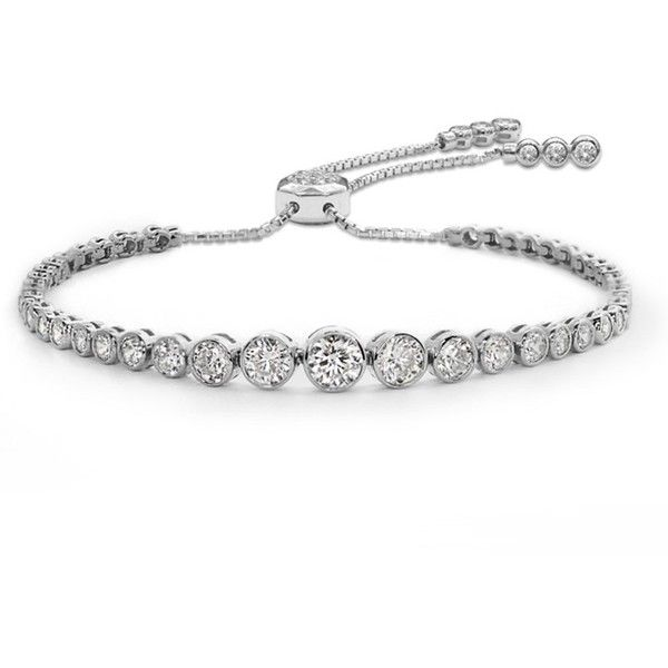 CARAT* London Quentin Slider Bracelet (£210) ❤ liked on Polyvore featuring jewelry, bracelets, silver, white gold jewelry, adjustable bangles, white gold jewellery, graduation gift jewelry and graduation jewelry