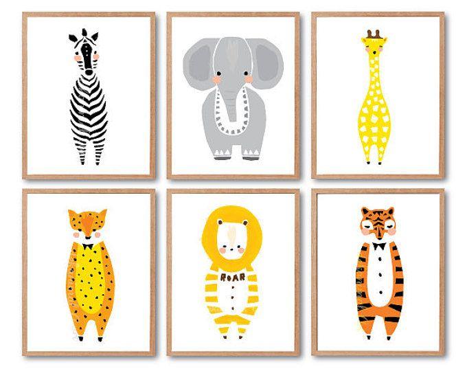 Bos dieren, Baby kwekerij decor, Leeuw, Zebra, tijger, luipaard, olifant, Giraffe afdrukken, afdrukken instellen, dier illustratie, kinderen kamer decor