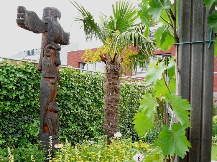 Totempaal in een exotische tuin met winterharde palmbomen ontwerp en foto vicas tuinontwerpen - Tuin ontwerp foto ...