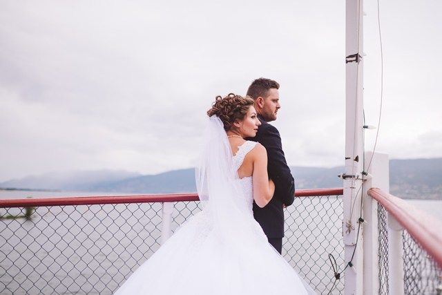 Nicole and Blake - Wedding Photo Shoot. Photographer: Kevin Trowbridge. Venue SS Sicamous Museum Penticton (south Okanagan). Other Vendors: Coconut Express Bus for Guest Transport