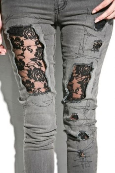 edgy + girly ripped jeans with lace.