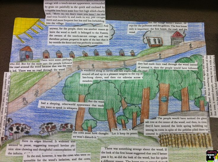 Using actual text evidence, the students draw a picture of the setting and then cut out the text to prove it.