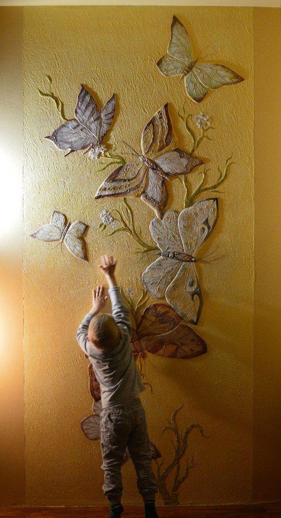 """Рельеф, роспись. """"Бабочки"""""""