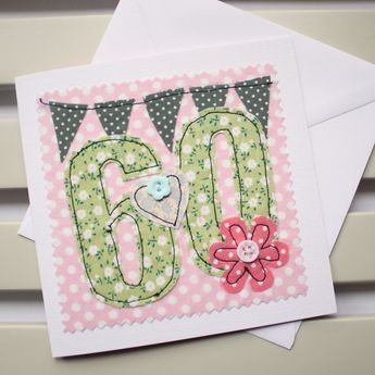 60th Birthday Card Machine Embroidered by PaperSoupCards on Etsy