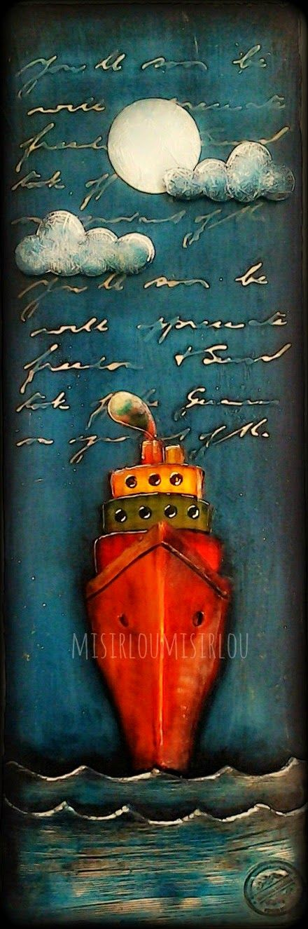 misirloumisirlou: A BOAT ON THE SEA - CLAY MIXED MEDIA