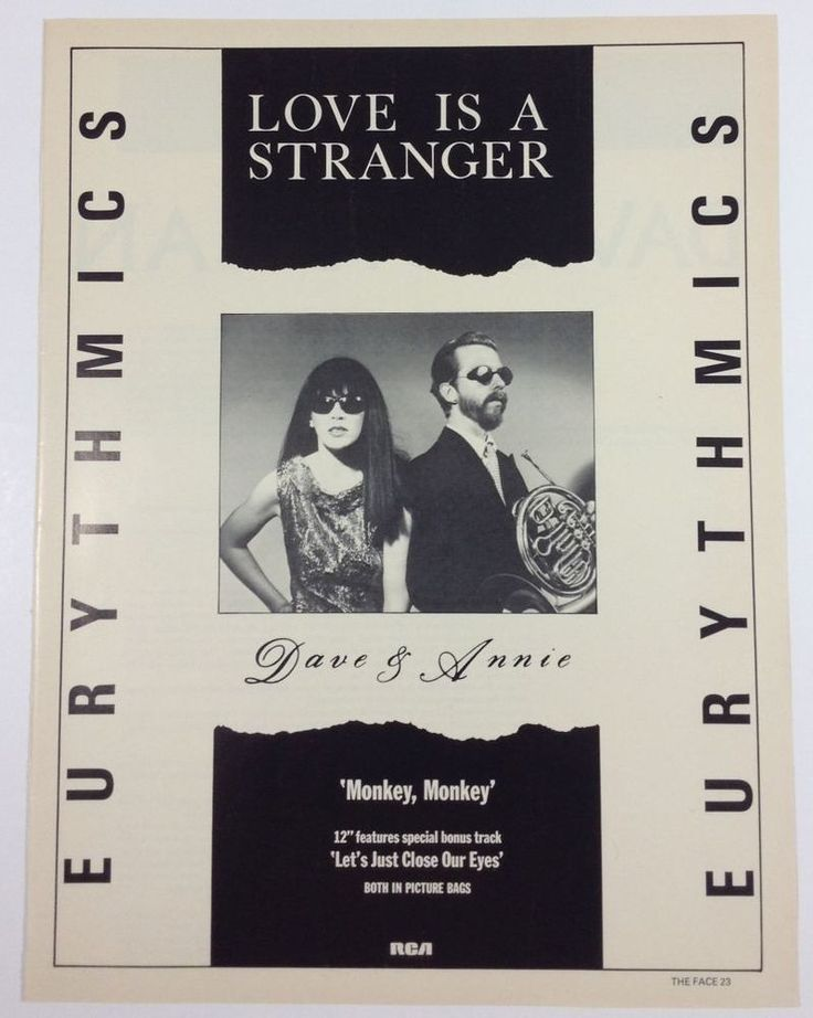 Eurythmics Annie Lennox Love Is a Stranger '80s Music UK Advertisement Print Ad 1982 #Eurythmics