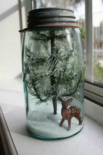 Mason jar snow globe! Can be changed to fit any season or holiday!