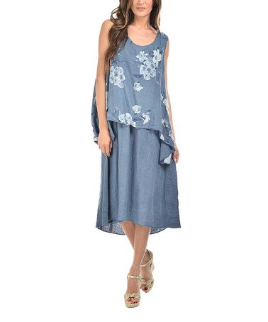 Another great find on #zulily! Blue Floral Layer Linen Midi Dress - Plus Too #zulilyfinds
