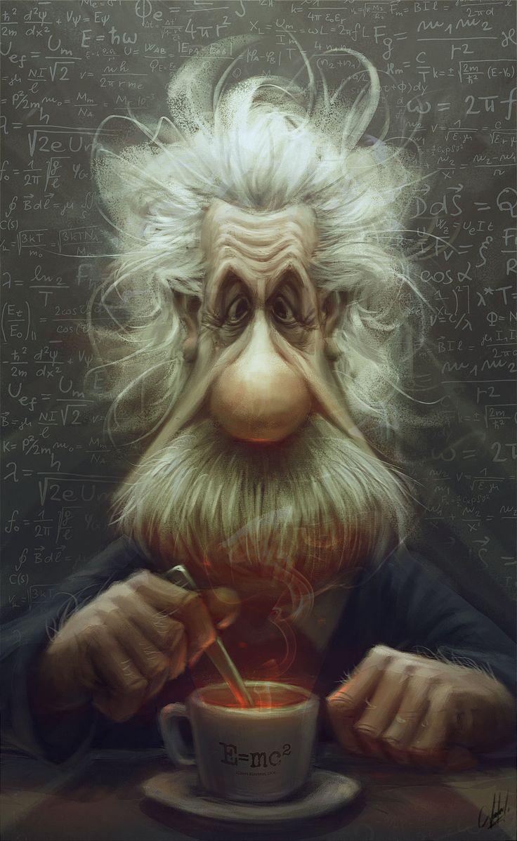 Albert Einstein by Panchusfenix.deviantart.com on @deviantART  Coffee makes the world go round!