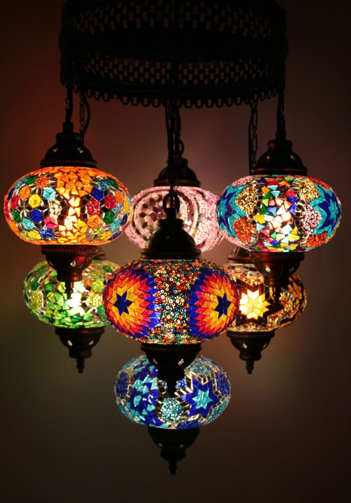 Multicolour Turkish Mosaic Hanging Lamp Light Hand Made 7