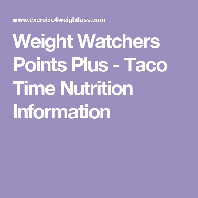 Weight Watchers Points Plus - Taco Time Nutrition Information