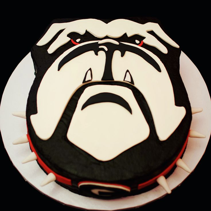 Georgia Bulldog Face Cake! UGA University Of Georgia Cake Bulldog Face! ❤️ #JamieChristinesSweets