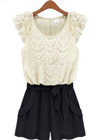 White Black Sleeveless Lace Belt Jumpsuit