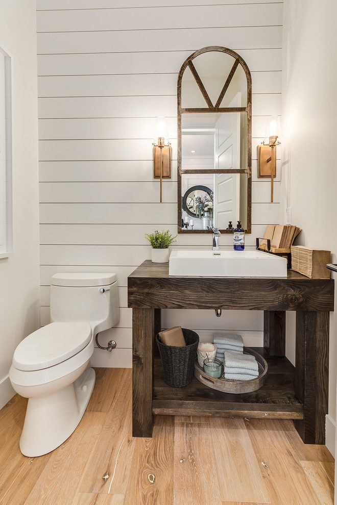 Calgary Mirror Furniture Pier 1 Powder Room Farmhouse With Shiplap Top Bathroom Vanities Reclaimed