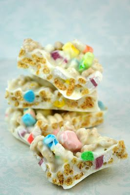 lucky charms candy bark! for candy bark: melt good chocolate, pour onto parchment then sprinkle on candy and press down lightly. refrigerate until firm.