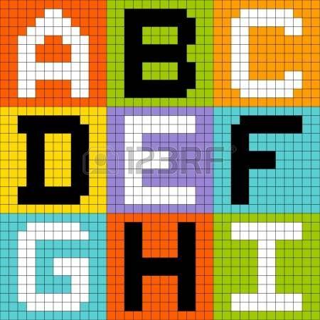 8 bit piksel sanat mektuplar ABC DEF GHI Stok Fotoğraf