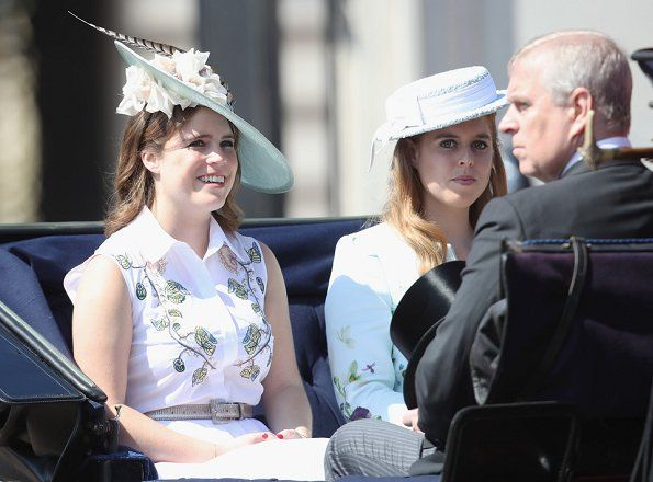 Princess Eugenie of York, Princess Beatrice of York and Prince Andrew, Duke of York attend the annual Trooping The Colour parade on June 17, 2017 in London.