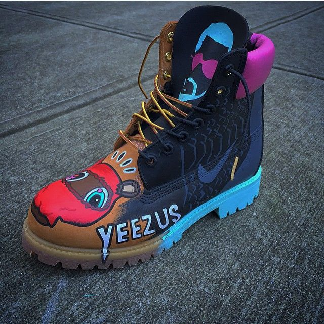 Custom Customised Brown Timberland Boots Kanye West Yeezus Nike Air Dope Sneakers Trainers Footwear Creative