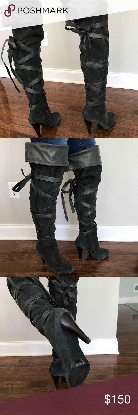 Colin Stuart Thigh High Boots / Grey Suede 10 Colin Stuart Thigh High Boots / Grey Suede 10 / worn once! Comes with box / 4.5 inch Heel Colin Stuart Shoes Over the Knee Boots