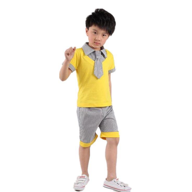 >> Click to Buy << Summer Fashion Breathable Children School Uniforms  Yellow Grey Patchwork Bowtie Boy Girl Short Sleeve Suit Kids Dance Wear #Affiliate