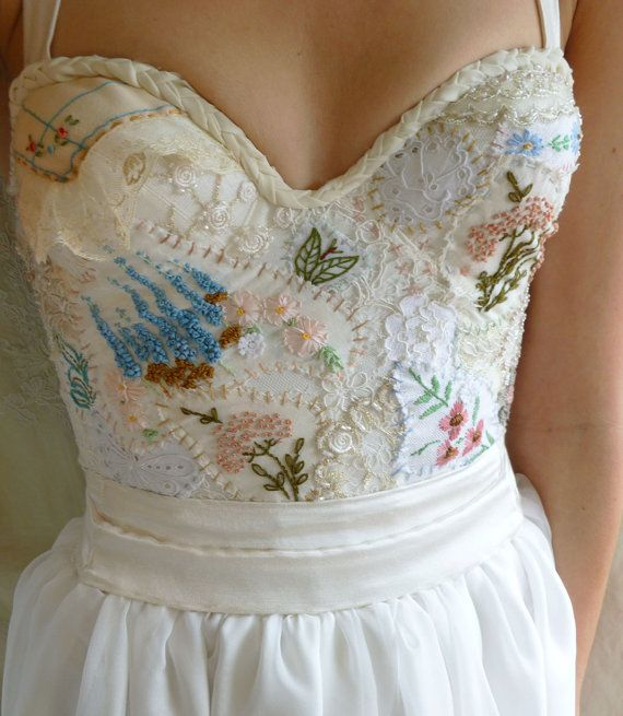 Custom Meadow Bustier Wedding Gown for Andrea custom dress vintage inspired silk chiffon hand embroidery boho woodland prairie free people by jadadreaming