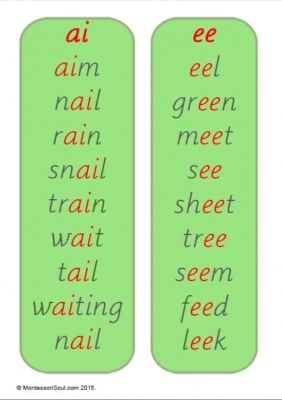 Free Printable: ai and ee word lists